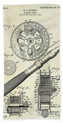 1906 Fishing Reel Patent Drawing Beach Towel by Jon Neidert