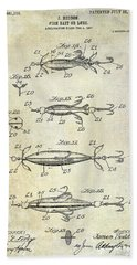 1907 Fishing Lure Patent Beach Towel
