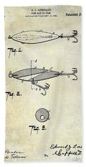 1909 Fishing Lure Patent Drawing Beach Towel
