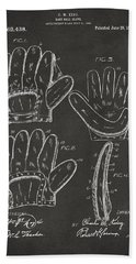 1910 Baseball Glove Patent Artwork - Gray Beach Towel