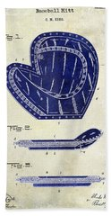 1910 Baseball Patent Drawing 2 Tone Beach Towel