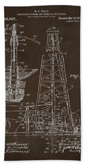 Beach Towel featuring the drawing 1911 Oil Drilling Rig Patent Artwork - Espresso by Nikki Marie Smith