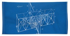 Beach Towel featuring the drawing 1914 Wright Brothers Flying Machine Patent Blueprint by Nikki Marie Smith