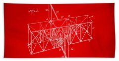 Beach Towel featuring the drawing 1914 Wright Brothers Flying Machine Patent Red by Nikki Marie Smith