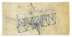 Beach Towel featuring the drawing 1914 Wright Brothers Flying Machine Patent Vintage by Nikki Marie Smith
