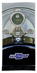 1915 Chevrolet Touring Hood Ornament Beach Towel