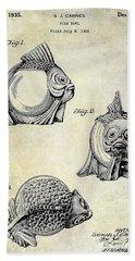 1915 Fish Bowl Patent Drawing  Beach Towel