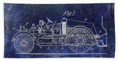 1916 Automobile Fire Apparatus Patent Drawing Blue Beach Towel