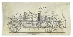 1916 Automobile Fire Apparatus Patent Drawing Beach Towel