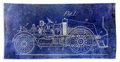 1916 Automobile Fire Apparatus Patent Drawing Lt Blue Beach Towel