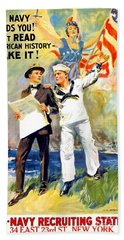 1917 - United States Navy Recruiting Poster - World War One - Color Beach Towel