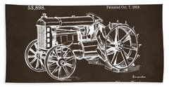 Beach Towel featuring the drawing 1919 Henry Ford Tractor Patent Espresso by Nikki Marie Smith