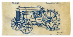 1919 Henry Ford Tractor Patent Vintage Beach Towel