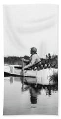 1920s Man Hunter Paddling Small Boat Beach Towel