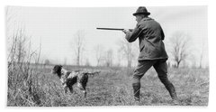 1920s Man Hunter With Shotgun In Field Beach Towel