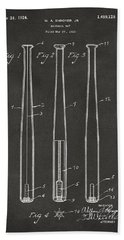1924 Baseball Bat Patent Artwork - Gray Beach Towel