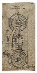 1924 Harley Davidson Patent Beach Towel