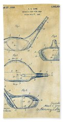 1926 Golf Club Patent Artwork - Vintage Beach Towel