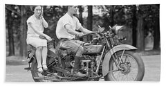 1930s Motorcycle Touring Beach Towel