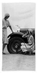 1930s Two Women Confront An Automobile Beach Towel