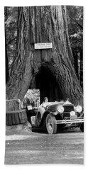 1930s Woman Driving Convertible Car Beach Towel