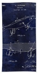 1931 Fish Bait Patent Drawing  Blue Beach Towel