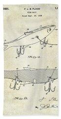 1931 Fish Bait Patent Drawing Beach Towel by Jon Neidert