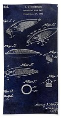 1932 Fishing Patent Drawing Blue Beach Towel
