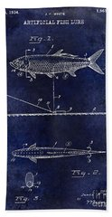 1934 Artificial Fish Lure Patent Drawing Blue Beach Towel by Jon Neidert