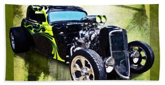 1934 Ford Three Window Coupe Hot Rod Beach Towel