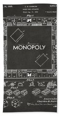 1935 Monopoly Game Board Patent Artwork - Gray Beach Towel