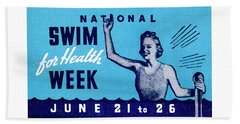 1935 Swim For Health Poster Beach Towel