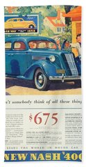 1936 - Nash Sedan Automobile Advertisement - Color Beach Towel