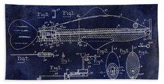 1936 Fish Toy Patent Drawing Blue Beach Towel by Jon Neidert