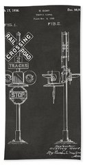 1936 Rail Road Crossing Sign Patent Artwork - Gray Beach Towel