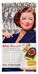 1938 - Lucky Strike Cigarettes Advertising - Myrna Loy - Color Beach Towel