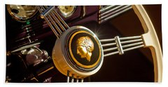 Beach Towel featuring the photograph 1939 Ford Standard Woody Steering Wheel by Jill Reger