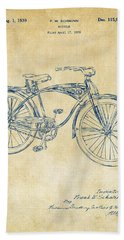 1939 Schwinn Bicycle Patent Artwork Vintage Beach Towel