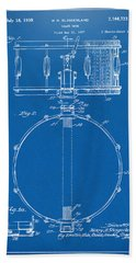 1939 Snare Drum Patent Blueprint Beach Towel