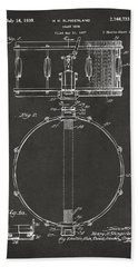 1939 Snare Drum Patent Gray Beach Towel