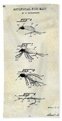 1940 Artificial Fish Bait Patent Drawing Beach Towel by Jon Neidert