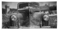 1940 Desoto Deluxe Black And White Beach Towel