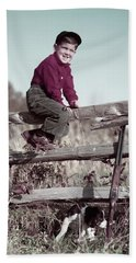 1940s 1950s Smiling Boy Climbing Beach Towel