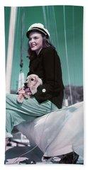1940s 1950s Smiling Woman Wearing Beach Towel