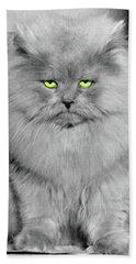 1940s Long Hair Blue Persian Cat Beach Towel