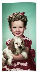 1940s Portrait Smiling Girl Wearing Red Beach Towel