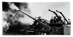 1940s Wwii Big Artillery Railroad Gun Beach Towel