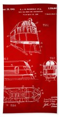 1941 Zephyr Train Patent Red Beach Sheet by Nikki Marie Smith