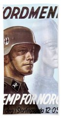 1943 - German Waffen Ss Recruitment Poster - Norway - Color Beach Towel