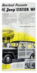 1946 - Willys Overland Jeep Station Wagon Advertisement - Color Beach Towel